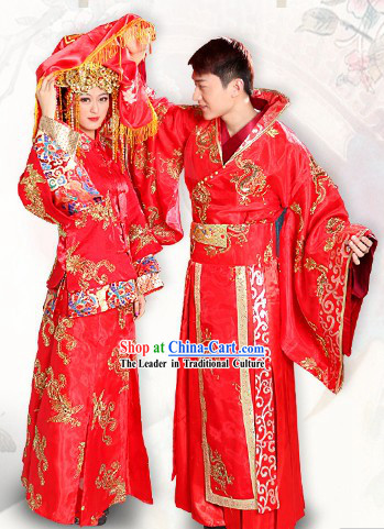 Traditional Chinese Bridal Wedding Dresses Two Sets for Brides and Bridegrooms
