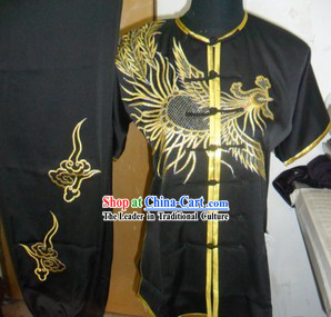 Traditional Chinese Short Sleeves Black Dragon Kung Fu Uniform