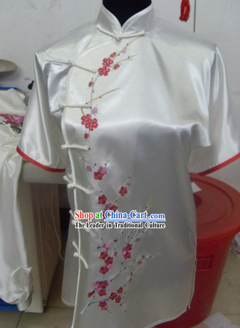 Traditional Chinese Plum Blossom Silk Kung Fu Shirt and Pants