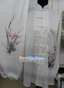 Traditional Chinese White Silk Orchid Martial Arts Uniforms