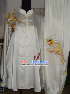 Traditional Chinese White Silk Kung Fu Championship Clothing