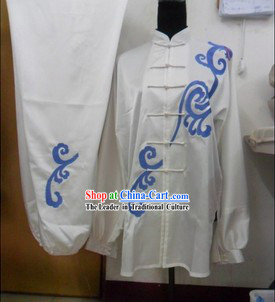 Traditional Chinese White Silk Kung Fu Uniform