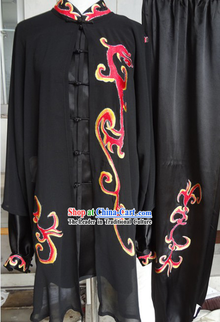 Chinese Classical Black Kung Fu Martial Arts Master Clothing Complete Set