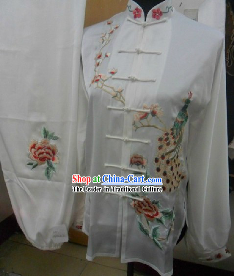 Traditional Chinese White Peacock Embroidery Martial Arts Competition Suit