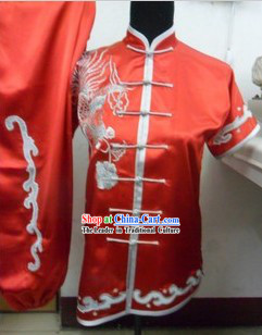 Traditional Chinese Red Phoenix Embroidery Martial Arts Competition Suit