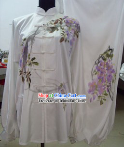 Traditional Chinese White Purple Flower Martial Arts Suit