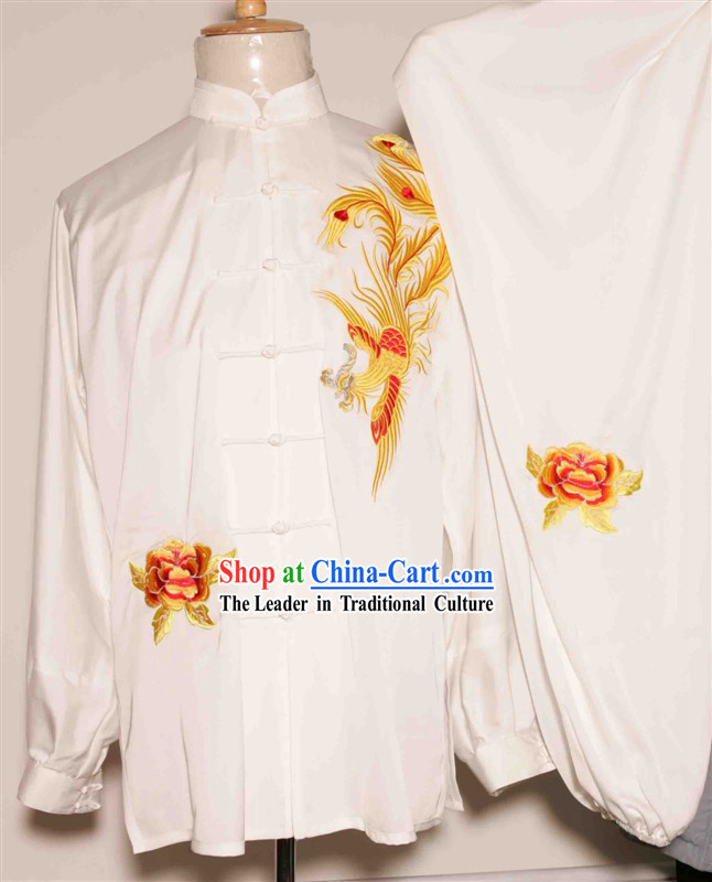 White Chinese Phoenix Embroidery Tai Chi and Martial Arts Competition Suit for Women