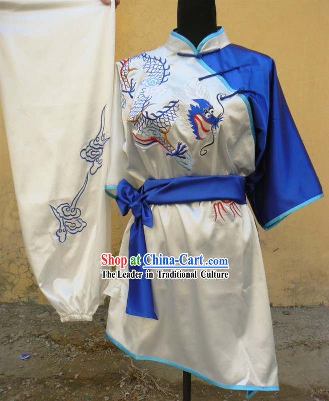 Traditional Chinese Short Sleeve Dragon Embroidery Contest Martial Arts Clothes