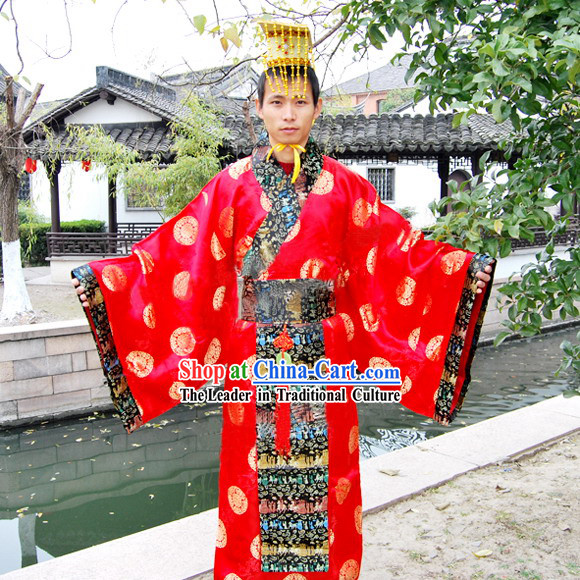 Qin Dynasty Qin Chao Qin Shi Huang First Emperor of Qin Costume and Hat for Men