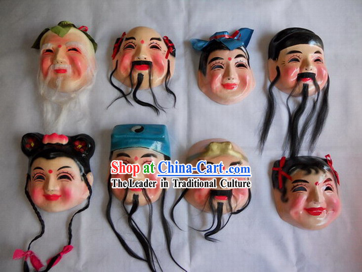 Ancient Chinese Legend Eight Immortals Laughing Masks for Performance and Parade