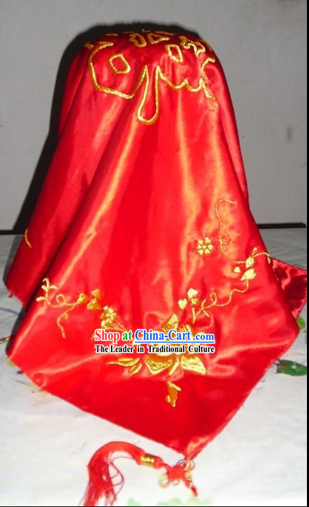 Traditional Chinese Dragon and Phoenix Hands Embroidered Wedding Veil for Brides