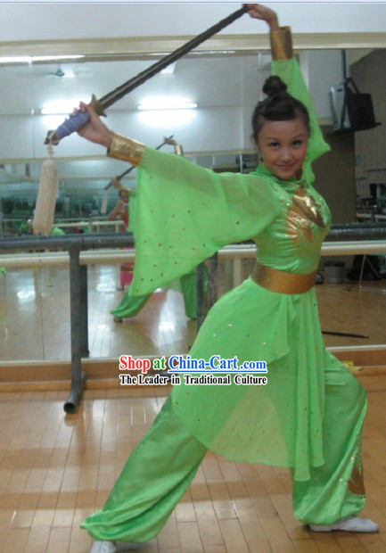 Green Martial Arts Stage Performance Guzhuang Style Costumes for Women