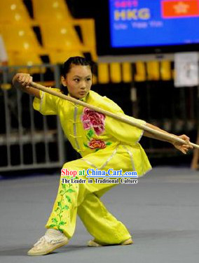 Yellow Long Spear Embroidered Peony Kung Fu Supplies for Women