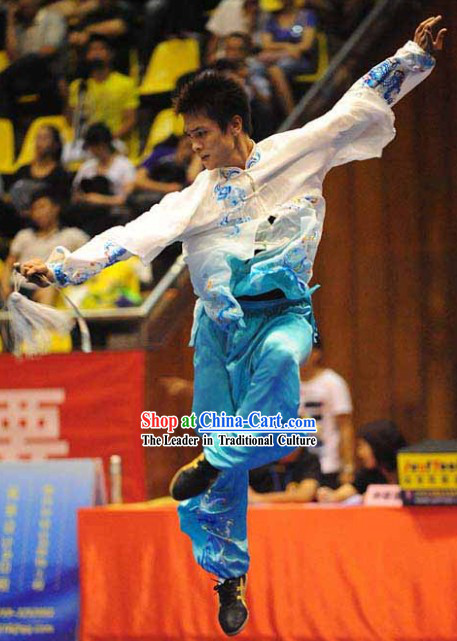 Blue and White Colour Transition Silk Kung Fu Suit for Men