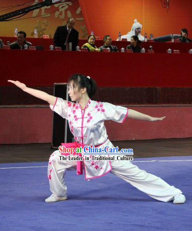 White Silk Plum Blossom Embroidery Martial Arts Suit
