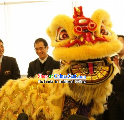 Supreme Golden Wool Grand Opening Lion Dance Costumes Complete Set