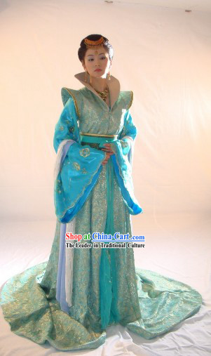 Ancient China Princess Blue Clothing Complete Set and Hair Accessories