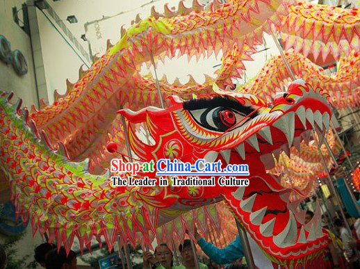 Reflected Color Spring Festival Dragon Dance Head and Body Costume for 15 to 16 People