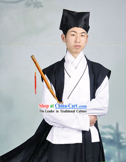 Ancient Chinese Cotton and Flax Wuxia Knight Costumes and Hat for Men
