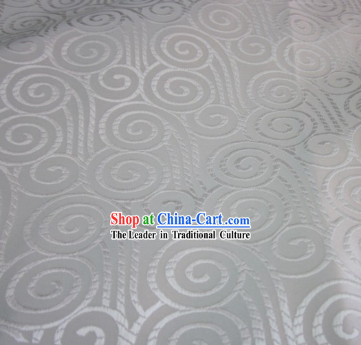 Pure White Chinese Auspicious Cloud Tibet Clothing Fabric