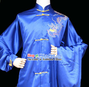 Blue Professional Embroidered Dragon Martial Arts Competition Outfit for Men