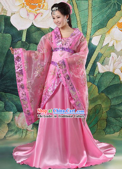 Ancient Chinese Pink Tang Dynasty Princess Clothing Complete Set