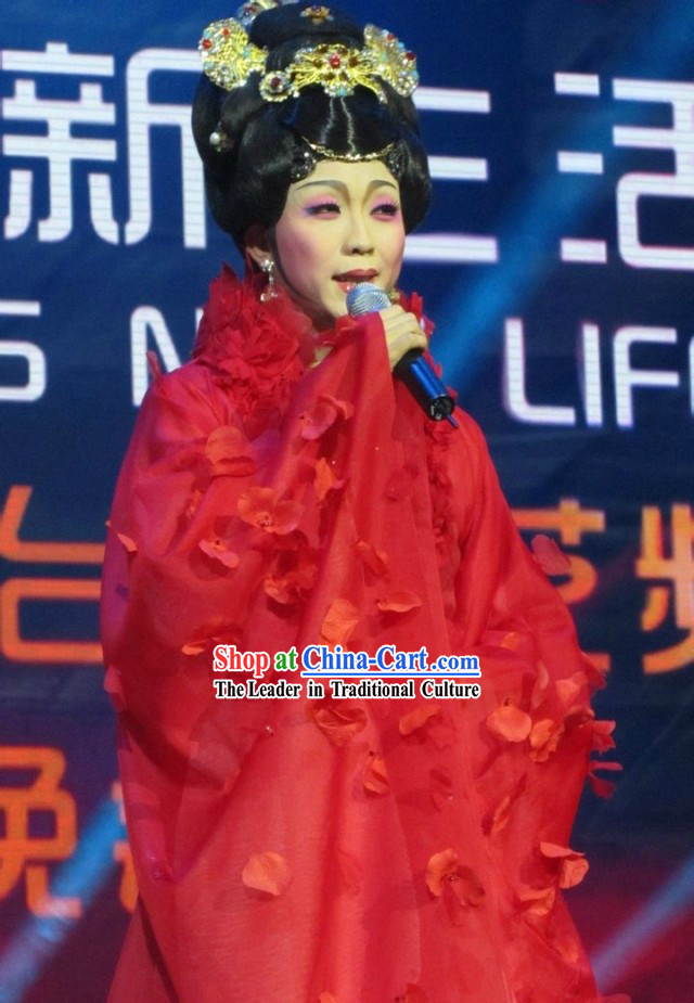Ancient Chinese Red Tang Dynasty Queen Dance Costume, Wig and Hair Accessories