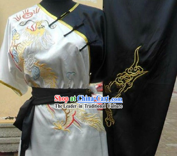 Embroidered Dragon Silk Yong Wing Chun Tai Chi Clothing Unisex