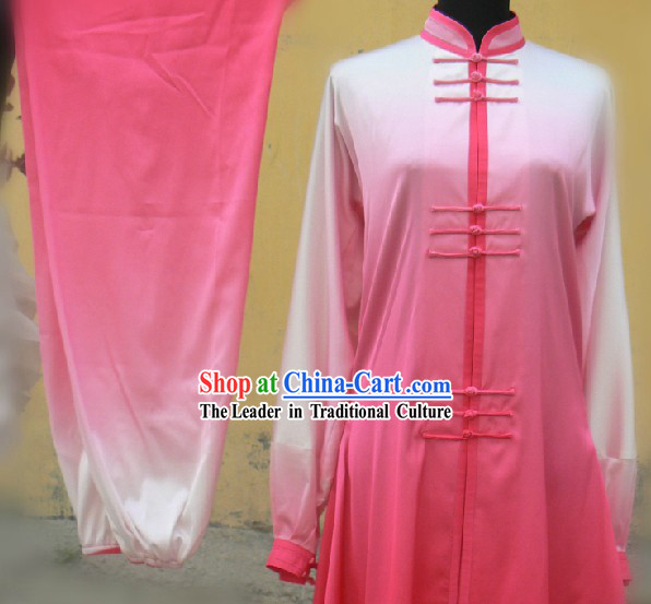 Chinese Pink Silk Color Transition Long Fist Nanquan Suit for Women