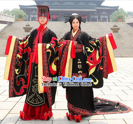 Traditional Ancient Chinese Zhou Zhi Wedding Dresses with Long Trail and Crowns and Accessories