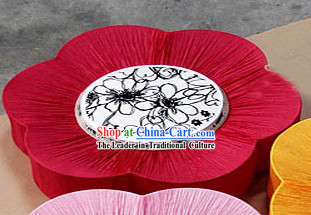 Unique 24 Inches Big Chinese Mandarin Fabric Style Ocean Flower Lanterns