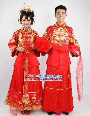 Traditional Chinese Mandarin Style Dragon and Phoenix Wedding Dresses for Brides and Bridegrooms