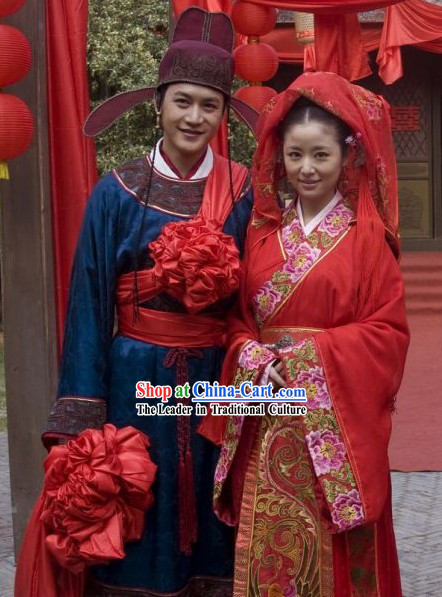 Ancient Traditional Chinese Wedding Dresses and Hat for Brides and Bridegrooms
