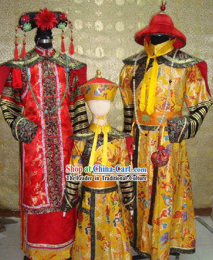 China Imperial Family Emperor Clothes Empress Costumes and Prince Clothing 3 Complete Sets