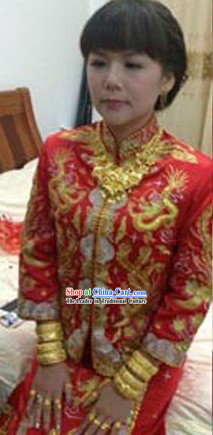 Traditional Chinese Wedding Dragon and Phoenix Wedding Blouse and Skirt