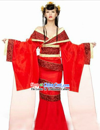Ancient Chinese Red Lady Hanfu Clothing and Hair Accessories Complete Set