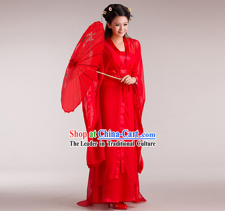 Ancient Chinese Red Dragon Lady Costume for Women