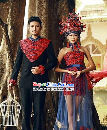 Red Ancient Chinese Wedding Bride Phoenix Coronet