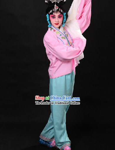 Traditional Chinese Pink Beijing Opera Hua Dan Long Sleeves Practice Blouse and Pants