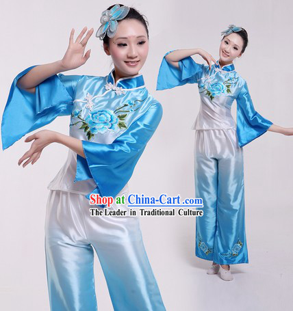 Traditional Chinese Colour Transition Yangge Dance Costume for Women
