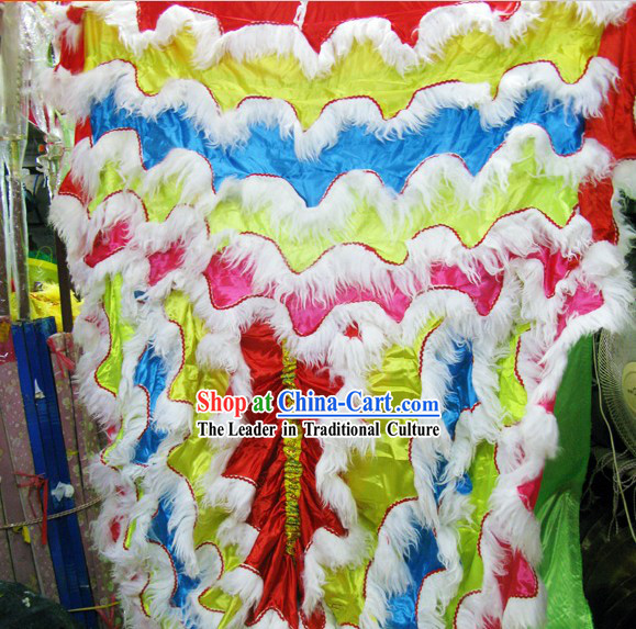 Rainbow Color Long Wool Lion Dance Body Costume Pants Claws Set