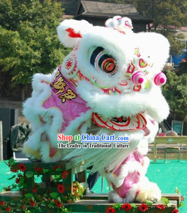 White Wool Fut San Lion Dance Costumes Complete Set for Adults