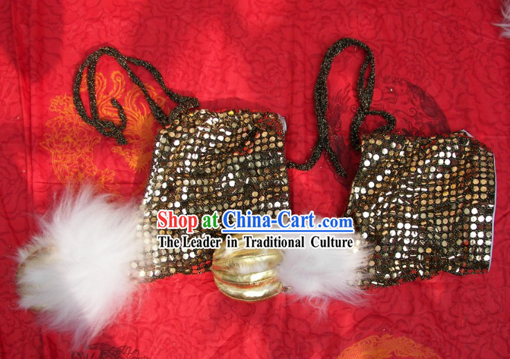 Black Sequins White Wool Lion Dance Claws for Professional Performance and Competition
