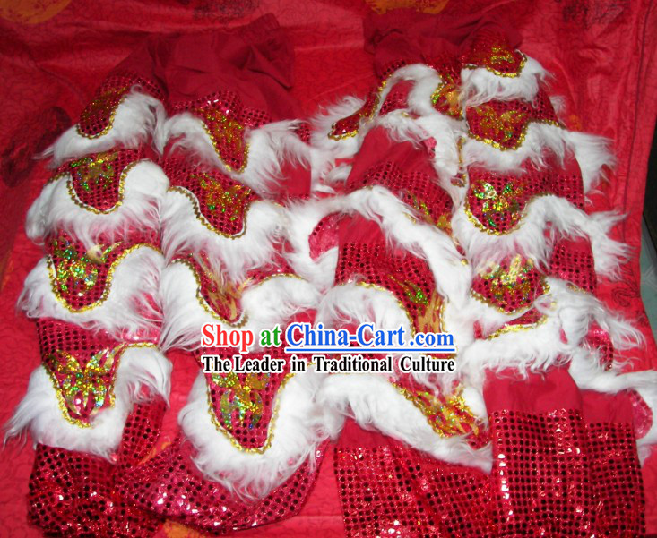 Bat Fu Pattern Two Pairs of Lion Dance Pants and Shoes Covers