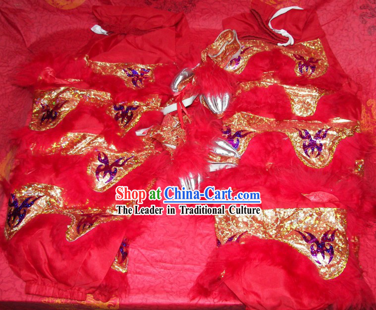 Festival Celebration Two Pairs of Chinese Lion Dance Pants and Claws Covers