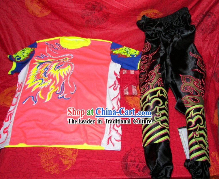Luminous Professional Chinese Dragon Dancer T-shirt, Pants and Leg Wrappings Set