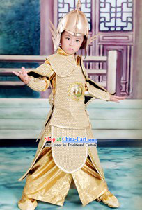Ancient Traditional Chinese Emperor Armor Costumes and Hat Complete Set for Kids
