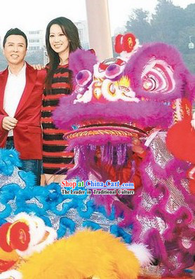 Business Opening Purple Long Wool Lion Dance Costume Full Set