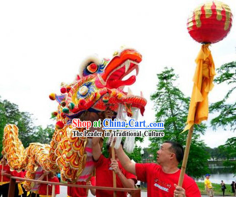 Supreme Best Red and Gold Chinese Festival Handmade Dragon Dance Equipment Full Set