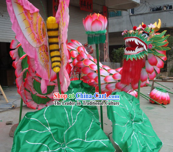 Classical Chinese Traditional Handmade Lotus Dragon Dance Costumes Complete Set